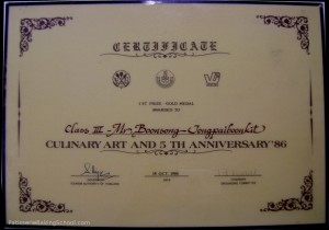 CERTIFICATE 1 ST PRIZE - GOLD MEDAL AWARDED TO CLASS III - MR.BOONSONG JONGPAIBOONKIT CULINARY ART AND 5 TH ANNIVERSARRY'86