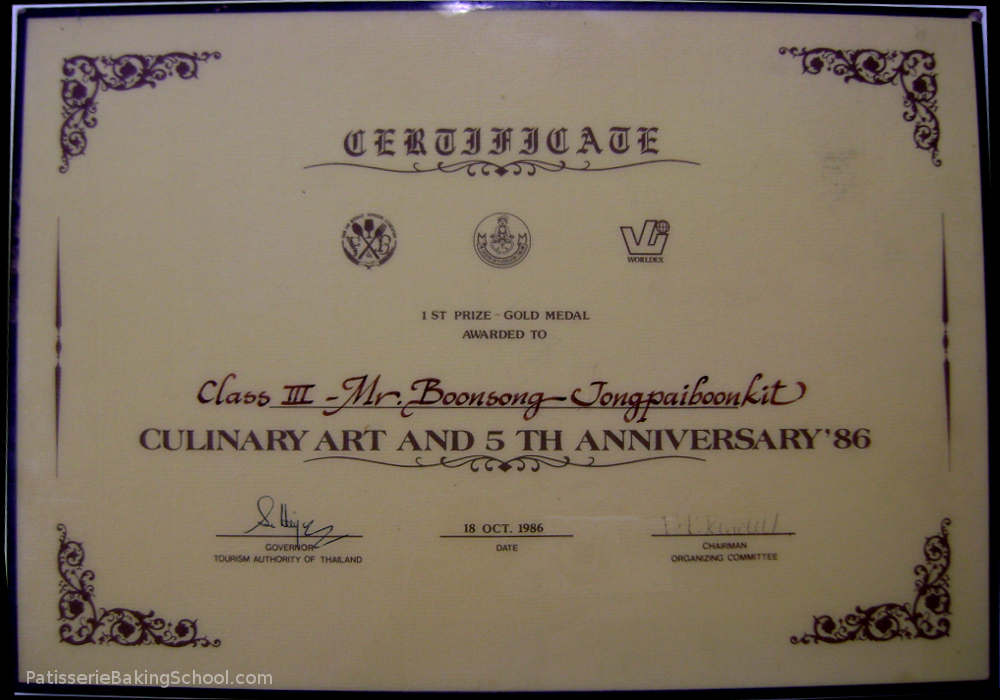 CERTIFICATE 1 ST PRIZE - GOLD MEDAL