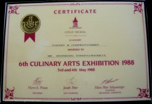 PASTRY & CONFECTIONERY  IN CATEGORY GOLD MEDAL CERTIFICATE